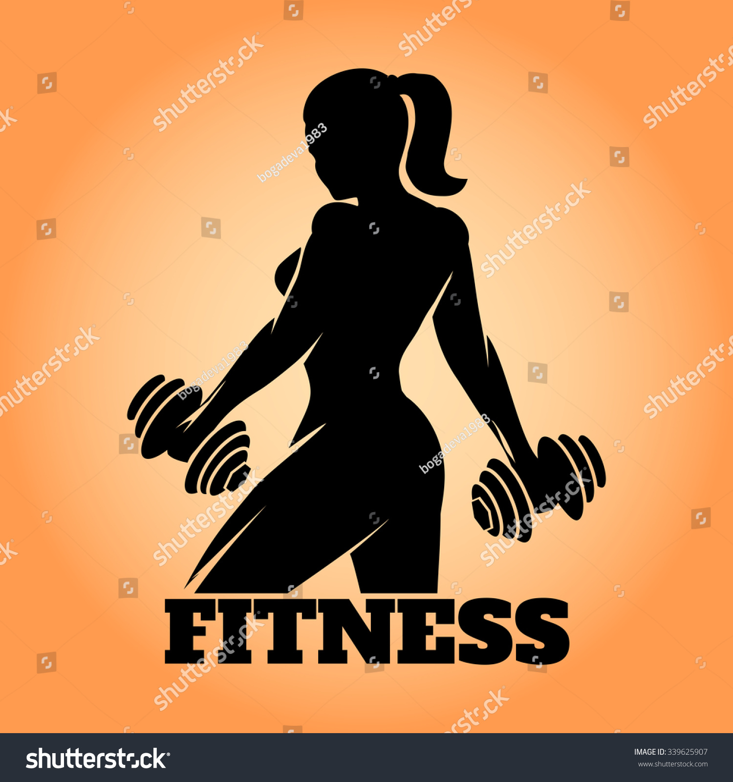Poster design vector download - Fitness Club And Gym Banner Or Poster Design Silhouette Of Athletic Woman With Dumbbells