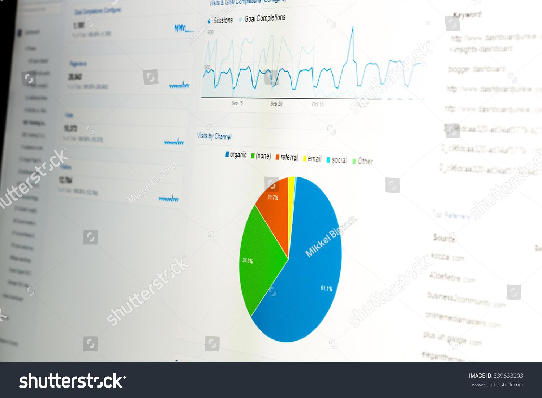 Closeup computer monitor web analytics data stock photo 339633203 close up of computer monitor with web analytics data and pie chart displaying usage statistics geenschuldenfo Choice Image