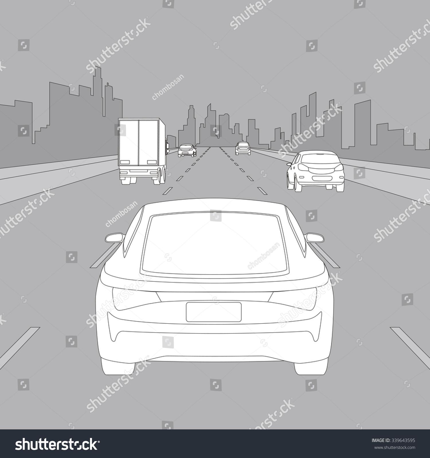 Motor Vehicles Driving On Urban Highway Stock Vector 339643595 ...