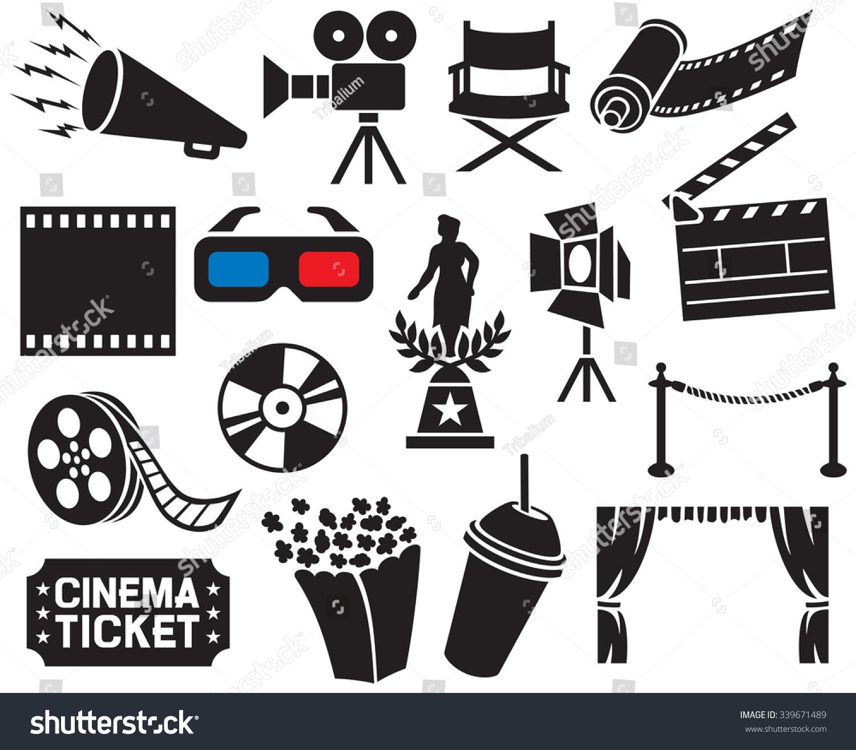Cinema Icons Collection Film Strip Popcorn Stock Vector (Royalty ...