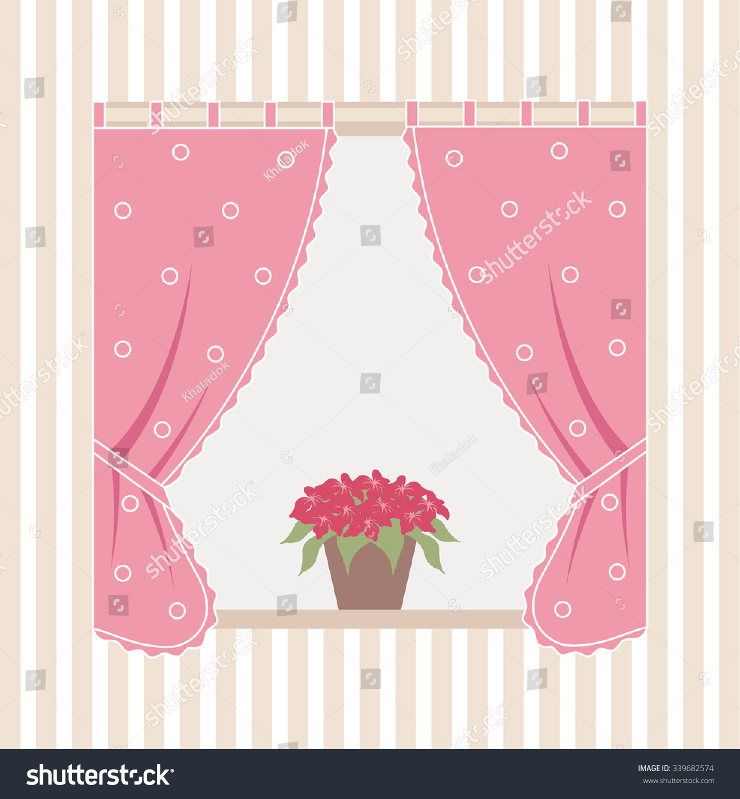 Inside house windows with curtains - Illustration Of The Window Inside The House With Curtains And Flowers On The Windowsill