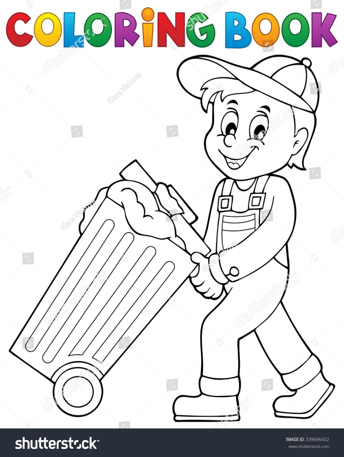 coloring book garbage collector theme 1 stock vector 339696422
