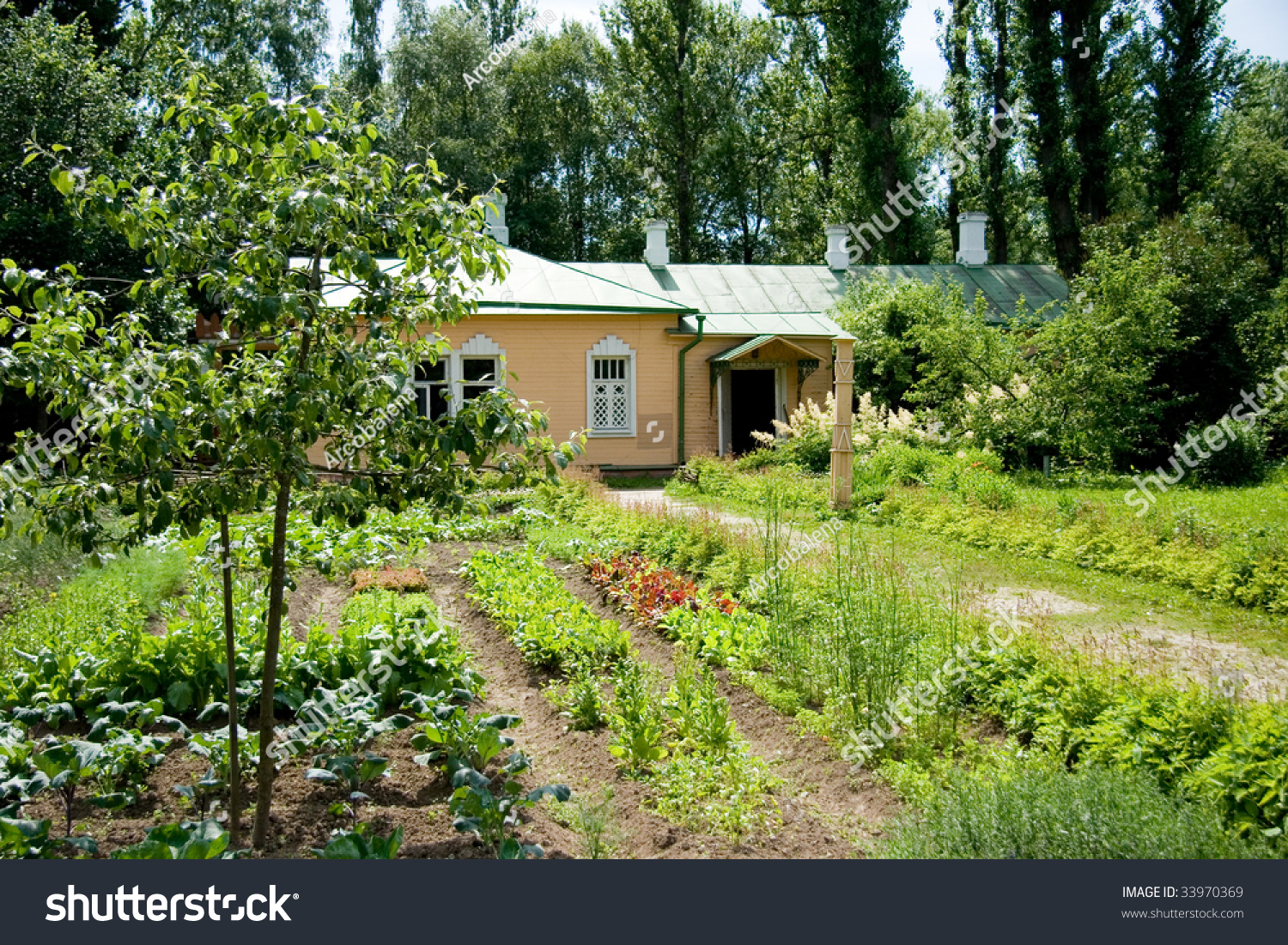 Country vegetable gardens - Beautiful Country House And Vegetable Garden