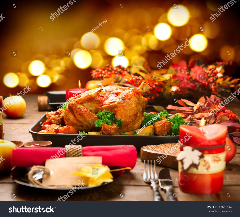 Christmas Dinner. Roasted Turkey On Holiday Served Table ...