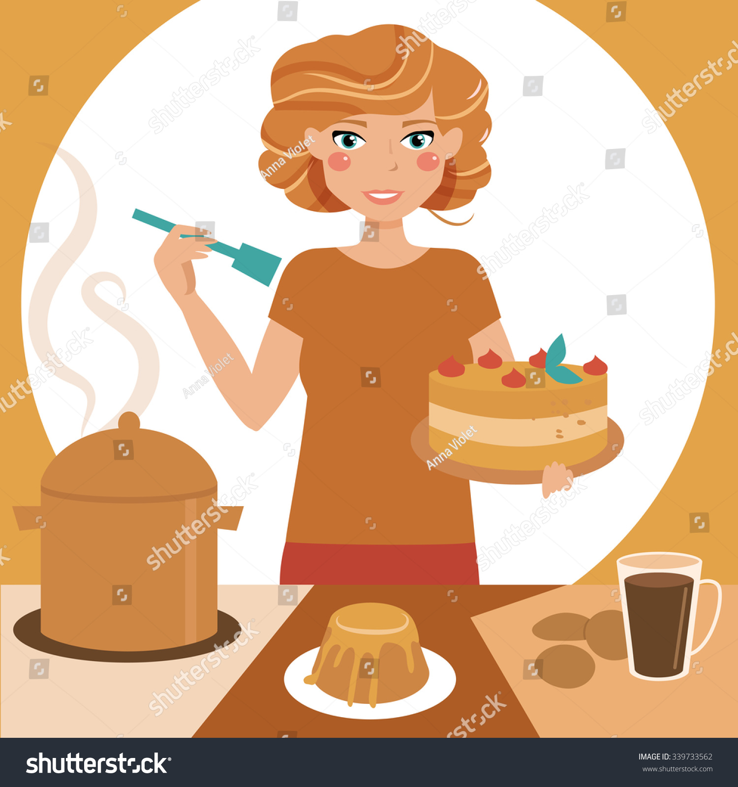 Selection of cartoons on cooking kitchens food and eating - Girl Are Cooking Woman In The Kitchen Wife Chef Vector Isolated Illustration