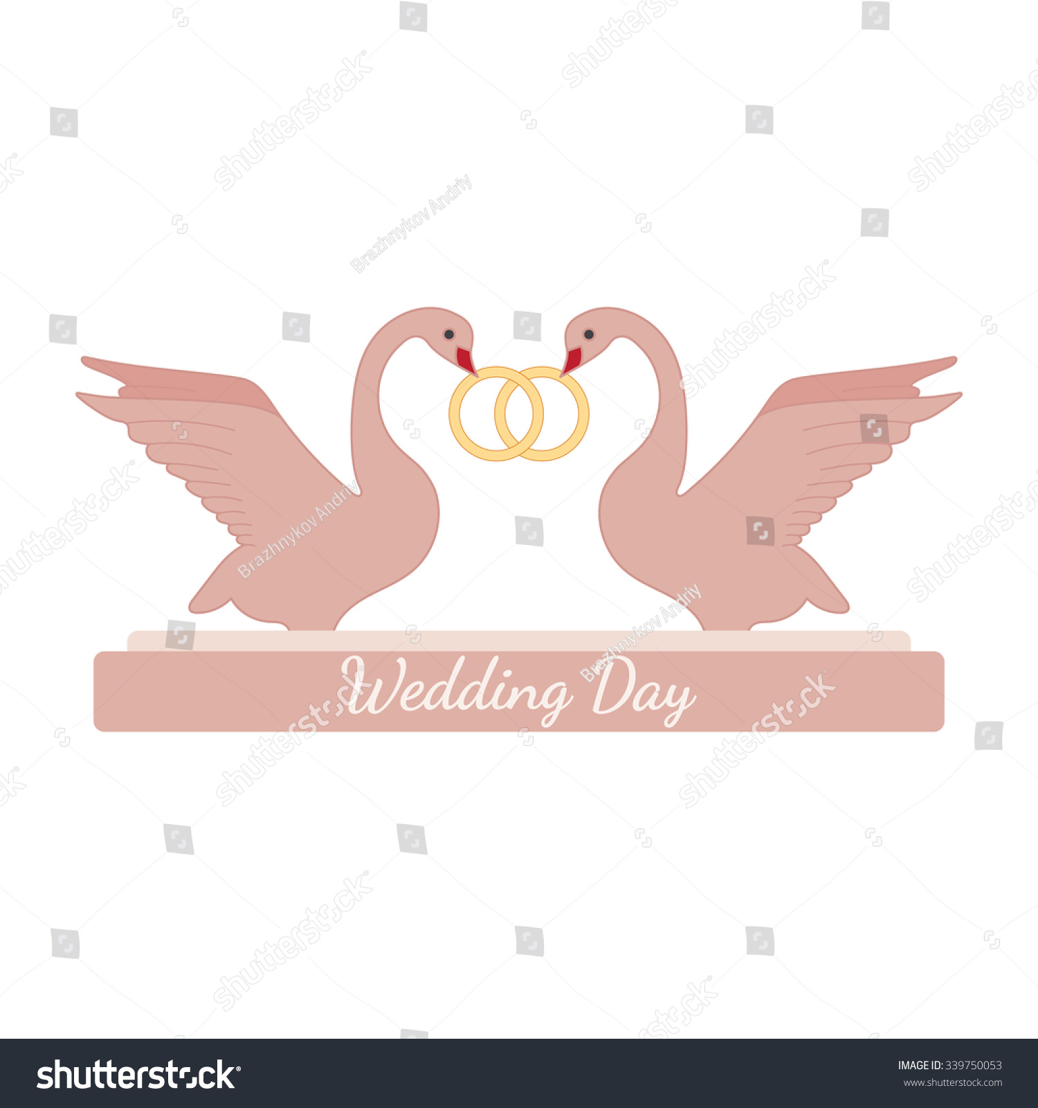 Wedding Pink Swans Hold Gold Rings Stock Photo (Photo, Vector ...