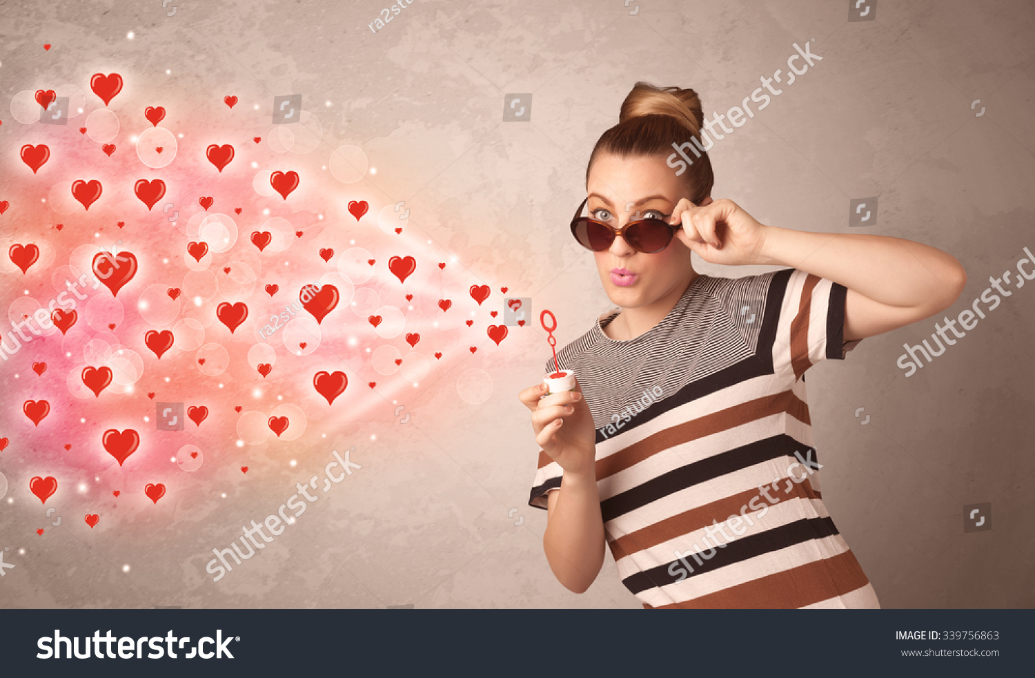 Pretty Young Girl Blowing Valentine Red Stock Photo Royalty Free