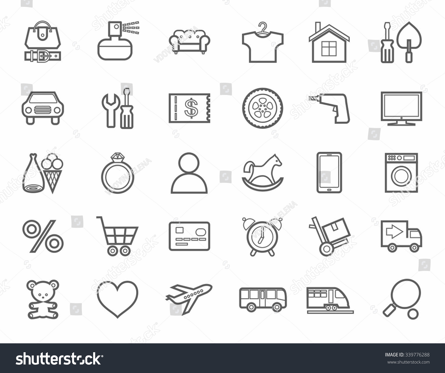 Online Store Product Categories Icons Linear Stock Vector Royalty