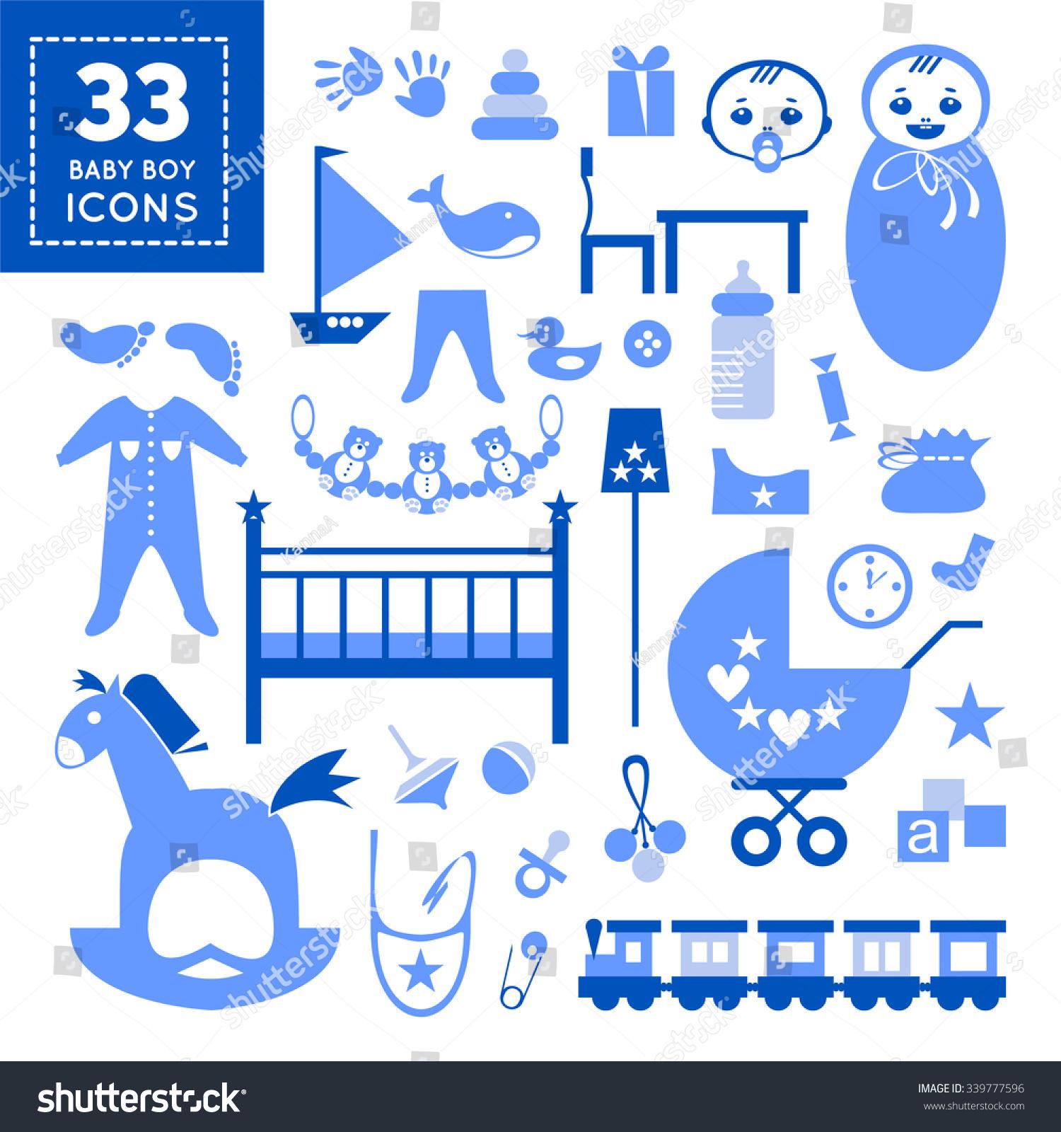 Color cards for kids - Color Cards For Kids Stylish Kids Elements In Blue Color For Baby Boy Flat Design