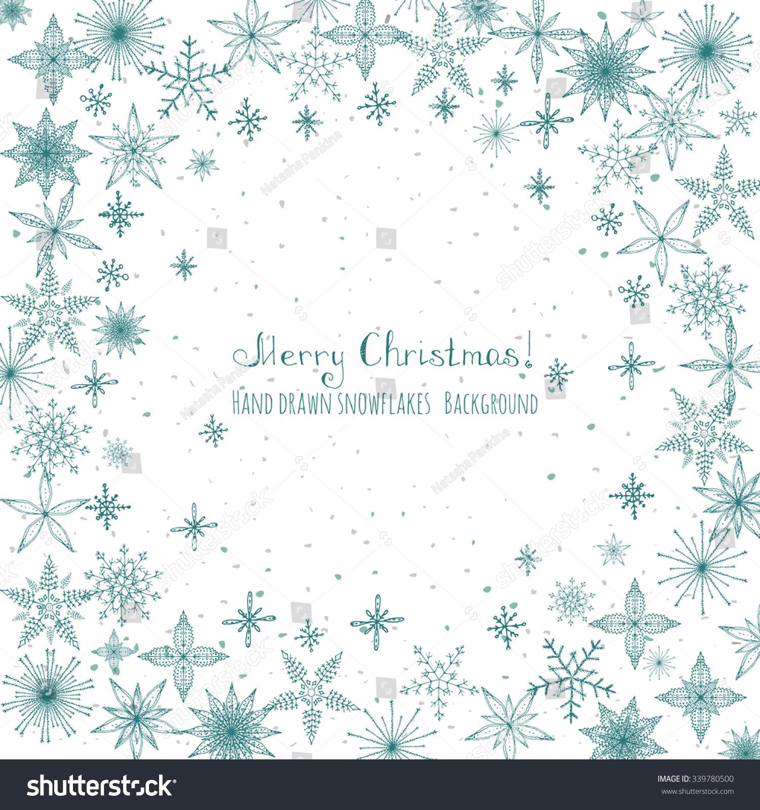 Set hand drawn snowflakes christmas ornaments stock vector