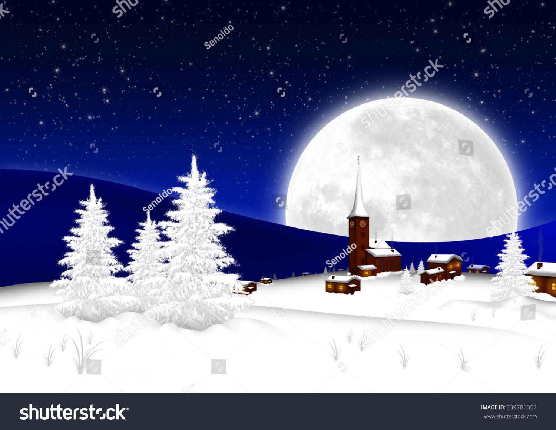 Christmas Card Snowy Mountain Village Big Stock Illustration