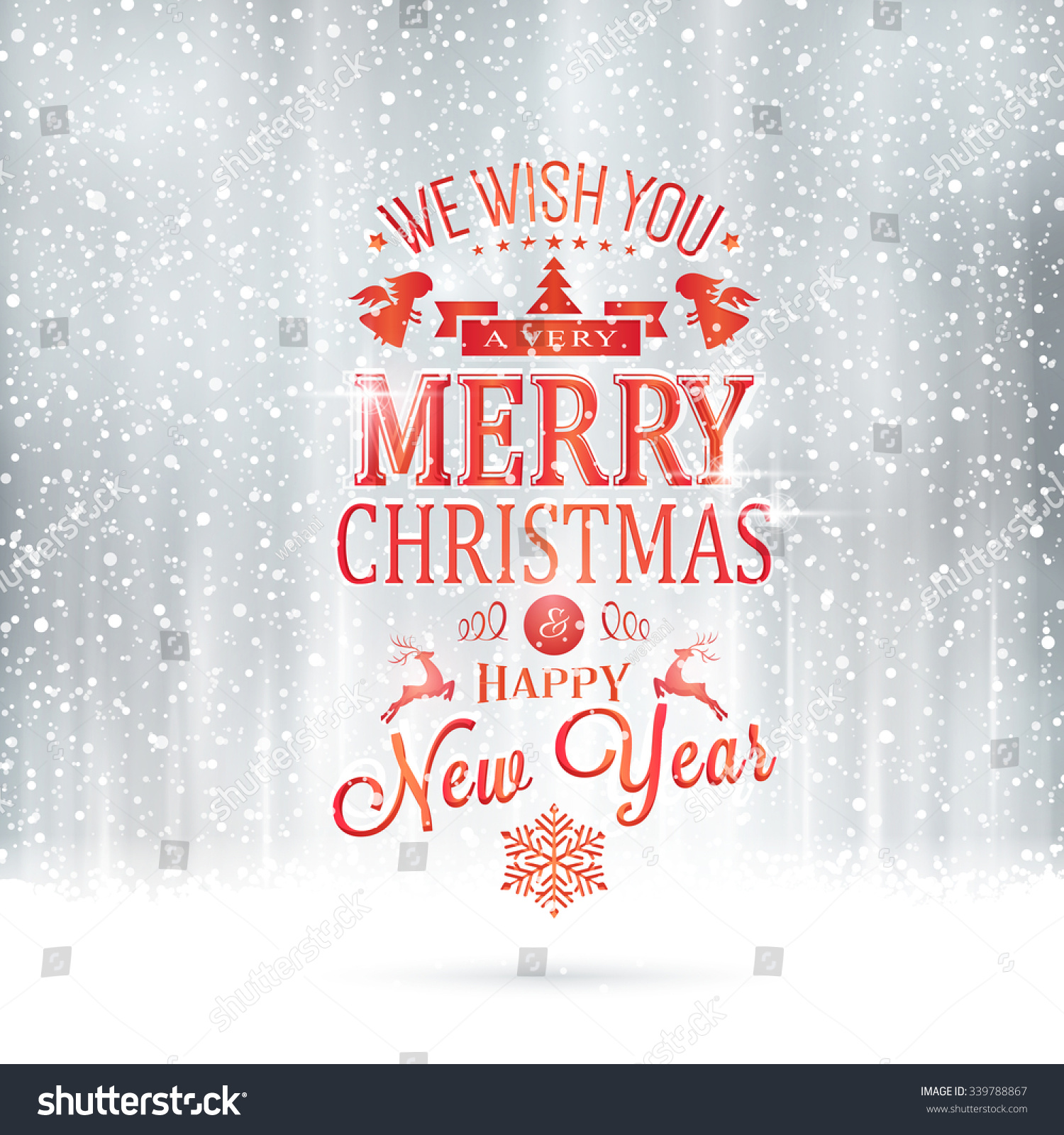 Very Merry Christmas.Red Wishing You Very Merry Christmas Stock Vector Royalty