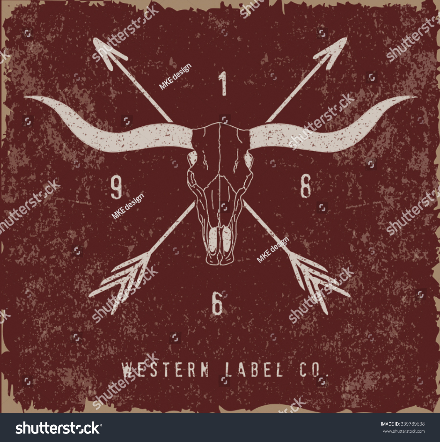 Western Label Design Old Effect Stock Vector 339789638 - Shutterstock