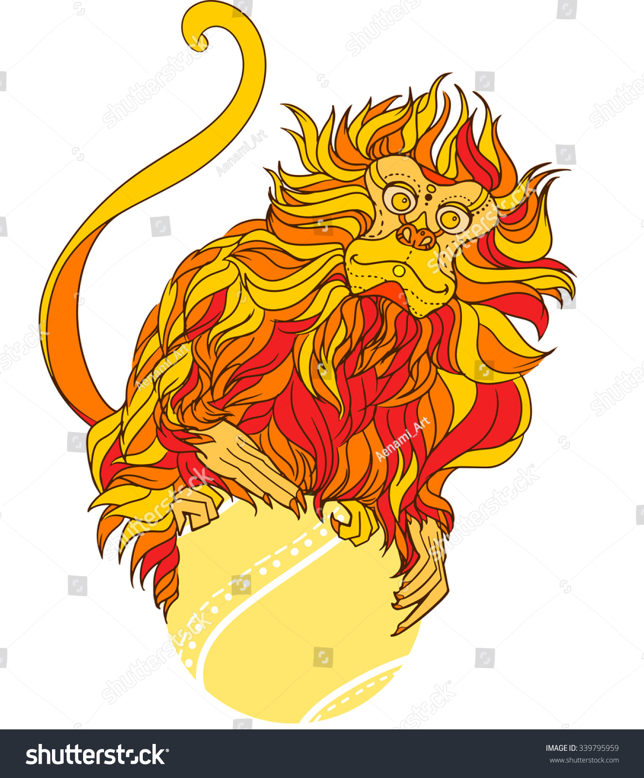Chinese Calendar Illustration : Vector illustration fire monkey symbol stock