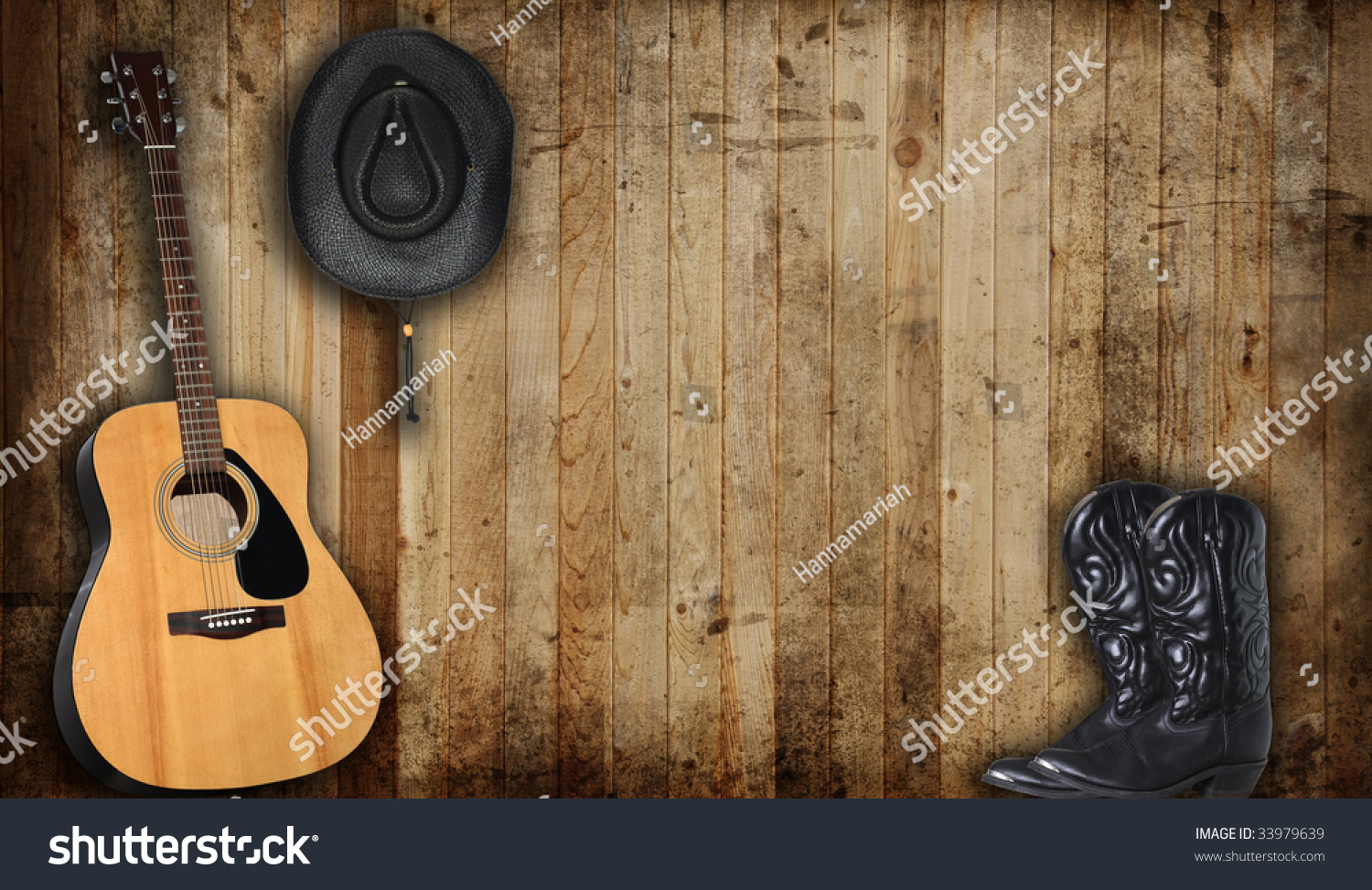 Boots cowboy and hat and guitar photo video