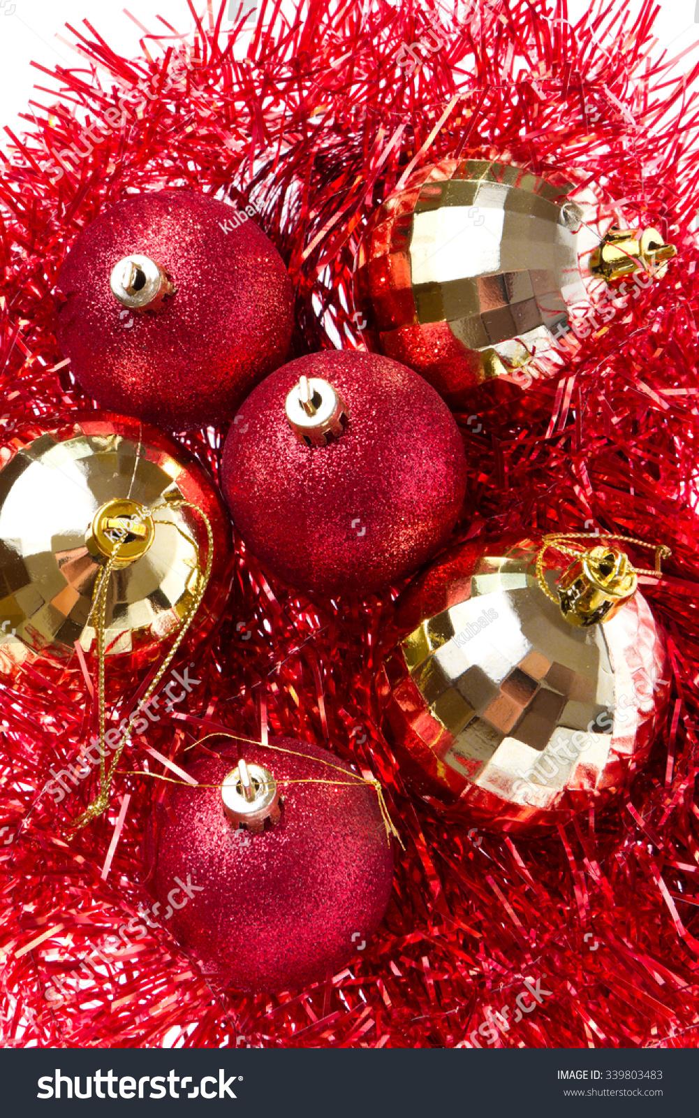 Christmas balls tinsel isolated on white stock photo