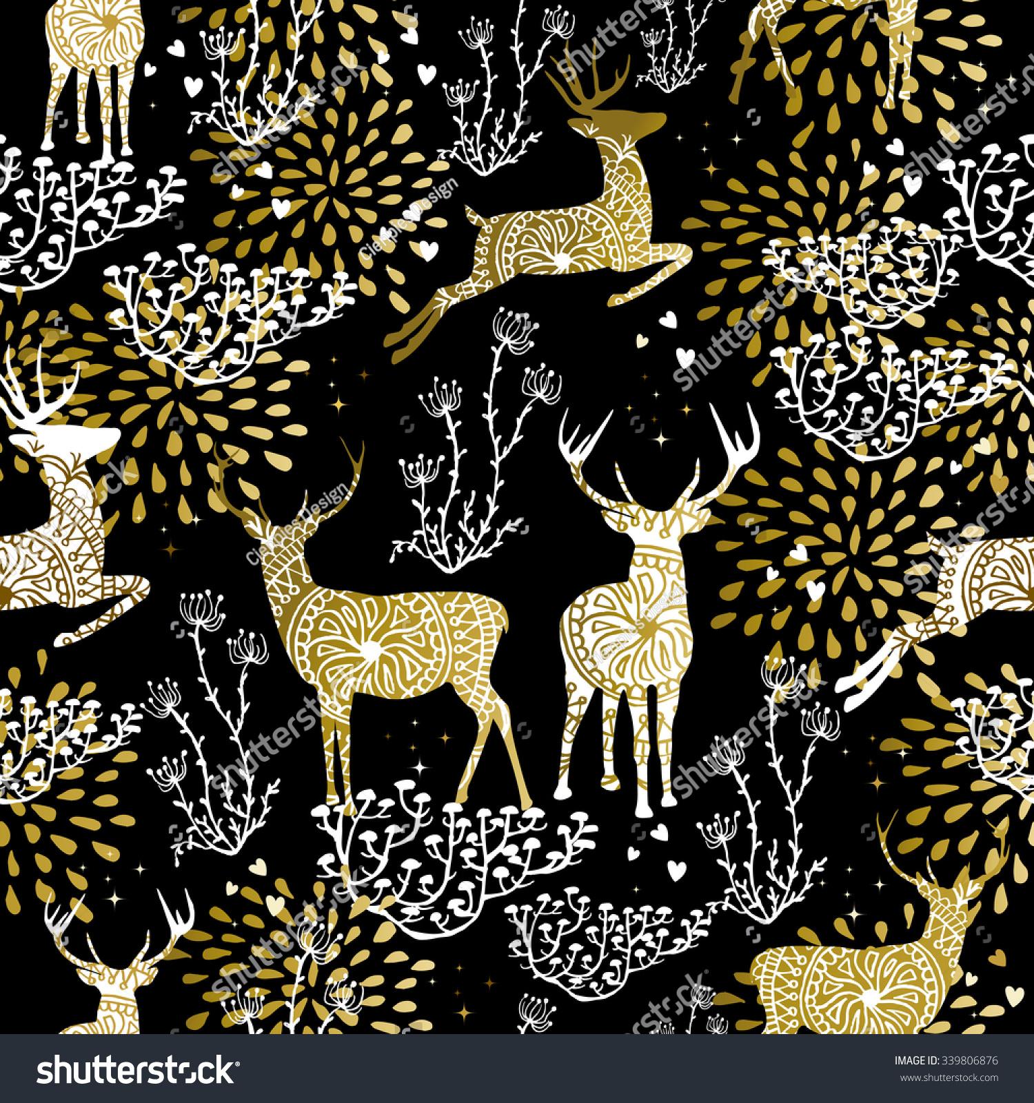 Christmas Fancy Gold Seamless Pattern Deer Stock Vector 339806876 ...