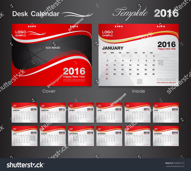 Hotel Calendar Design : Set red desk calendar year stock vector
