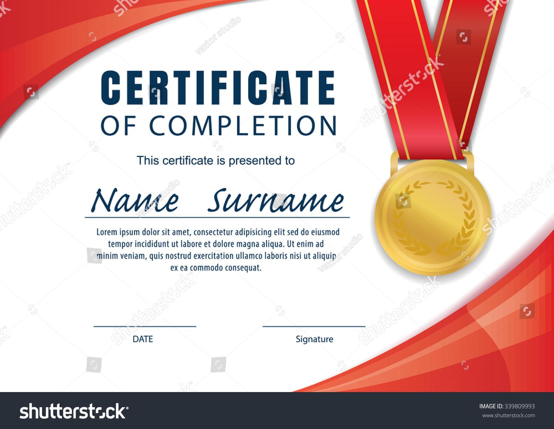 Horizontal Certificate Templatediploma A 4 Size Vector Stock Vector