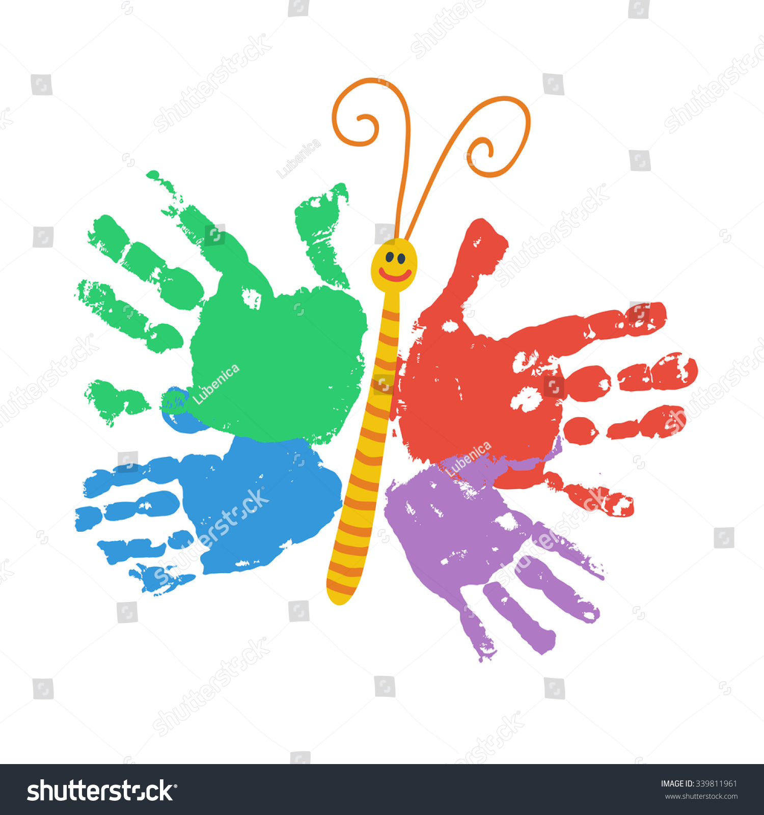 Handprint butterfly smiling colorful kids palm stock for Crafts with hands