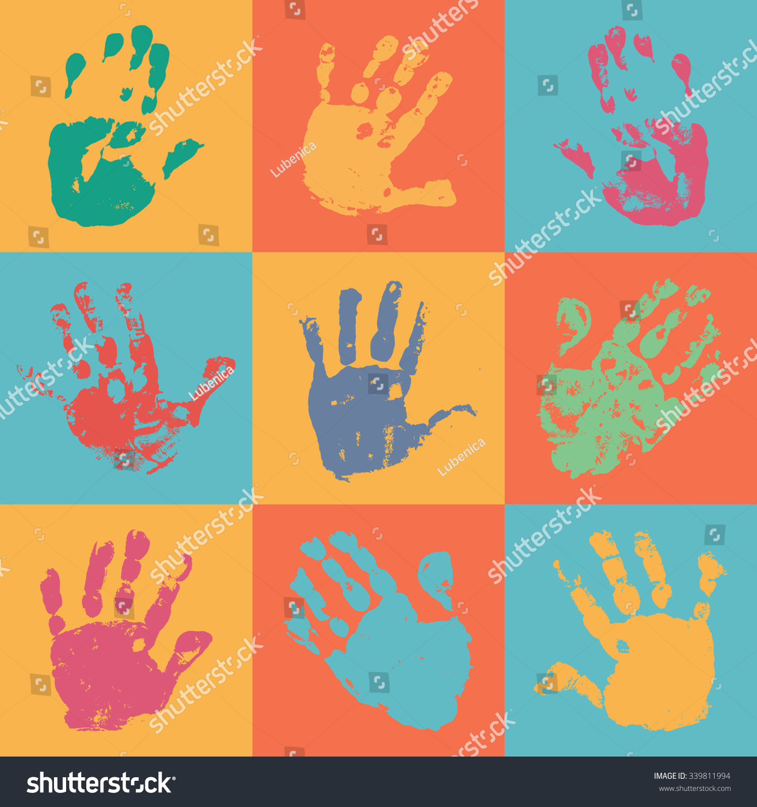 Handprint Poster Flat Style Watercolor Acrylic Stock Vector ...