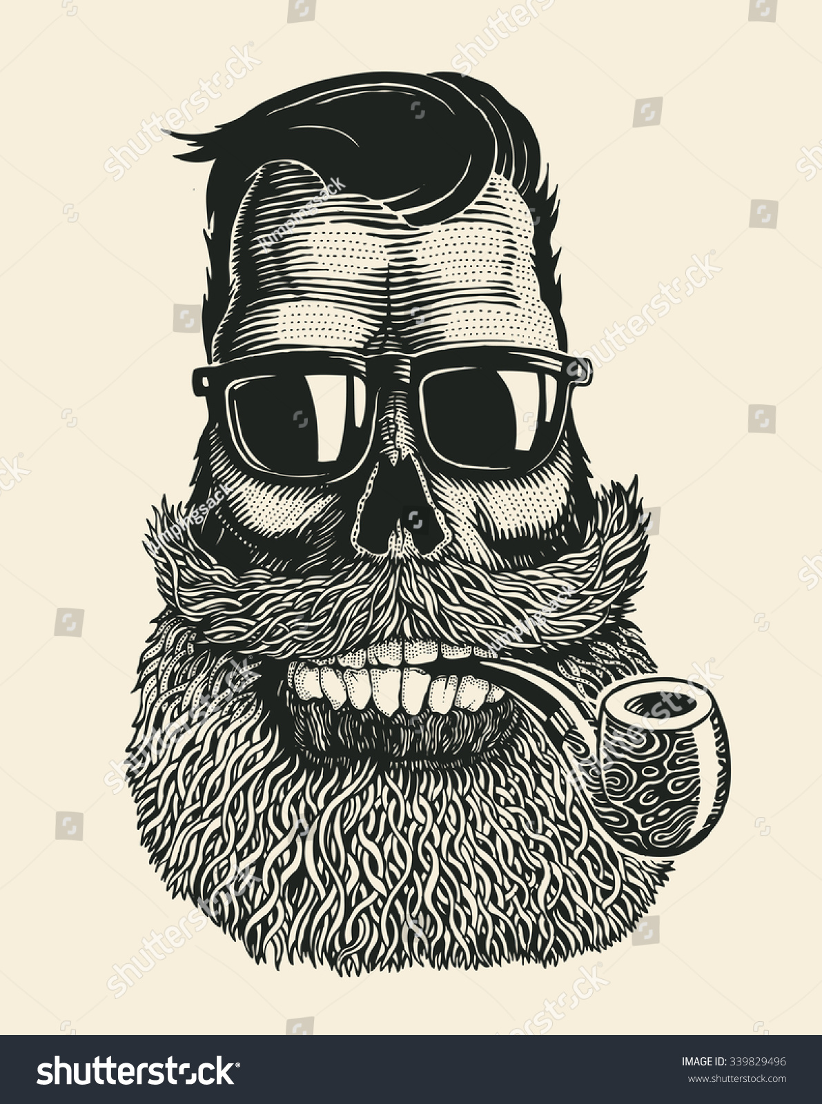skull hipster mustache beard tobacco pipes stock vector 339829496