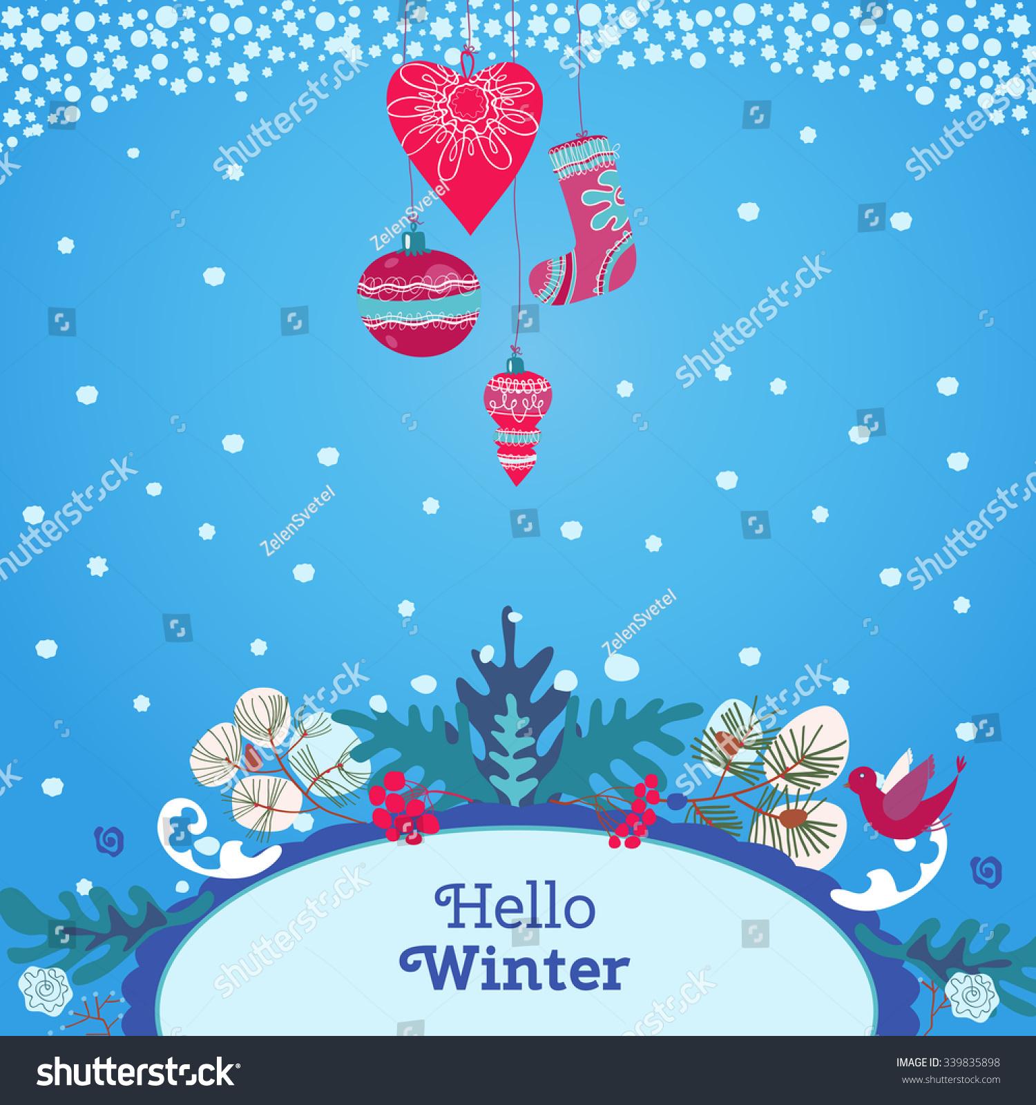 template winter invitation postcard advertising poster stock vector
