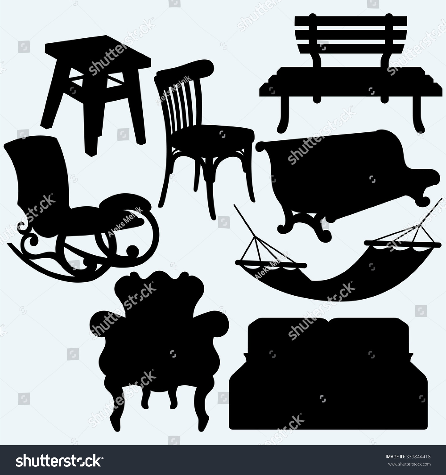 Set Furniture Rocking Chair Stool Sofa Stock Vector 339844418