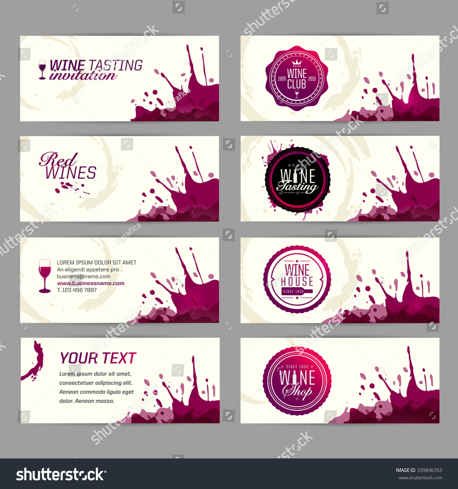 Card Banner Wine Business Wine Shop Stock Vector (2018) 339846353 ...