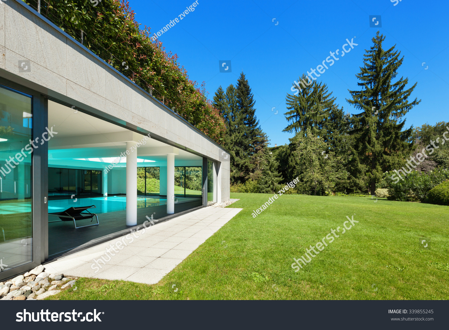 Modern House, Garden With Indoor Pool, Outdoors