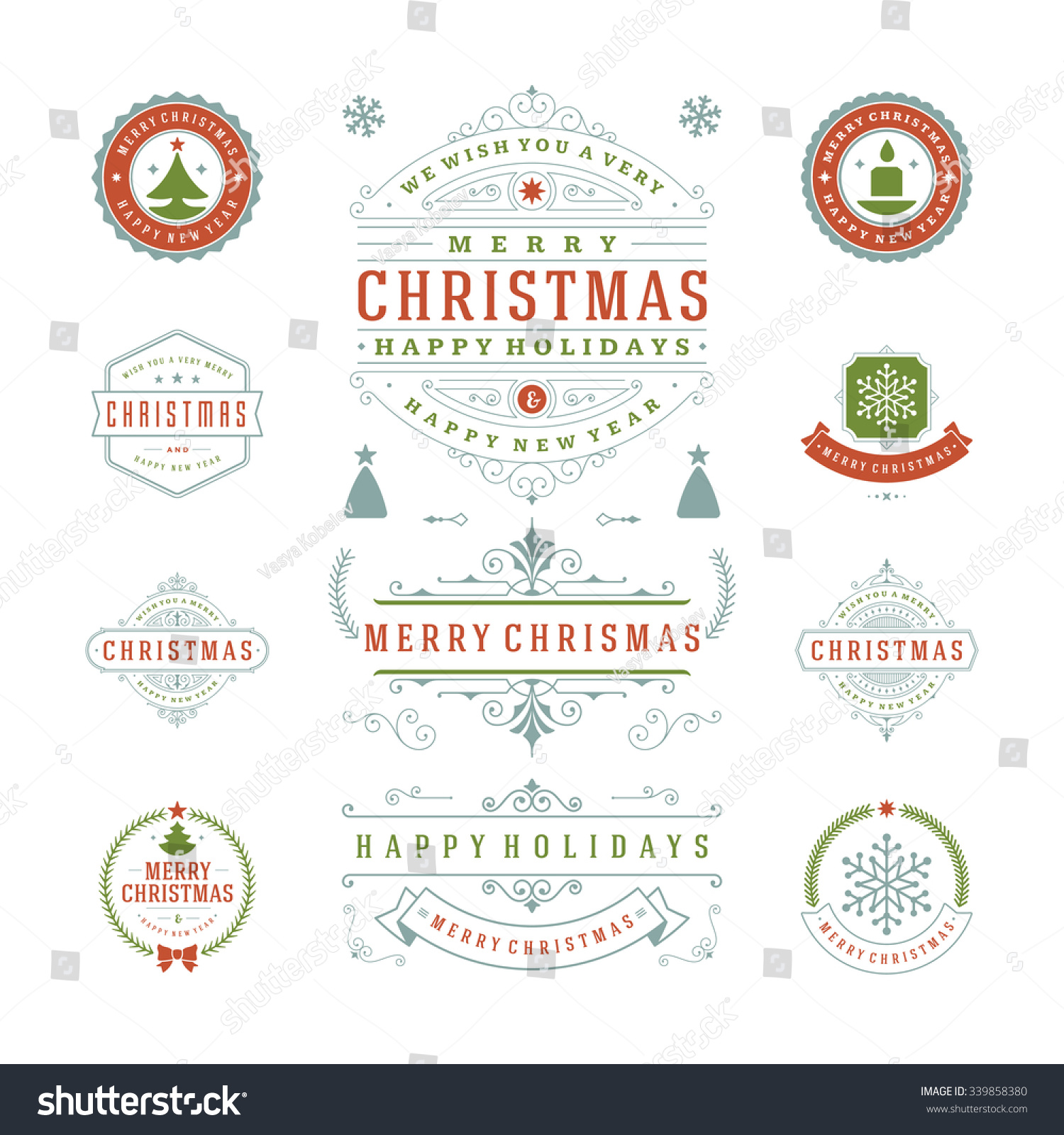 Christmas Labels Badges Vector Design Decorations Stock Vector ...