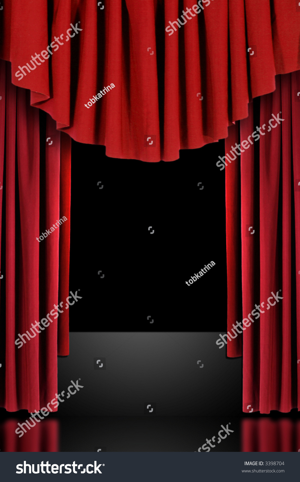 Stock photo dramatic red old fashioned elegant theater stage stock - Red Vertical Draped Theatre Curtains On Black