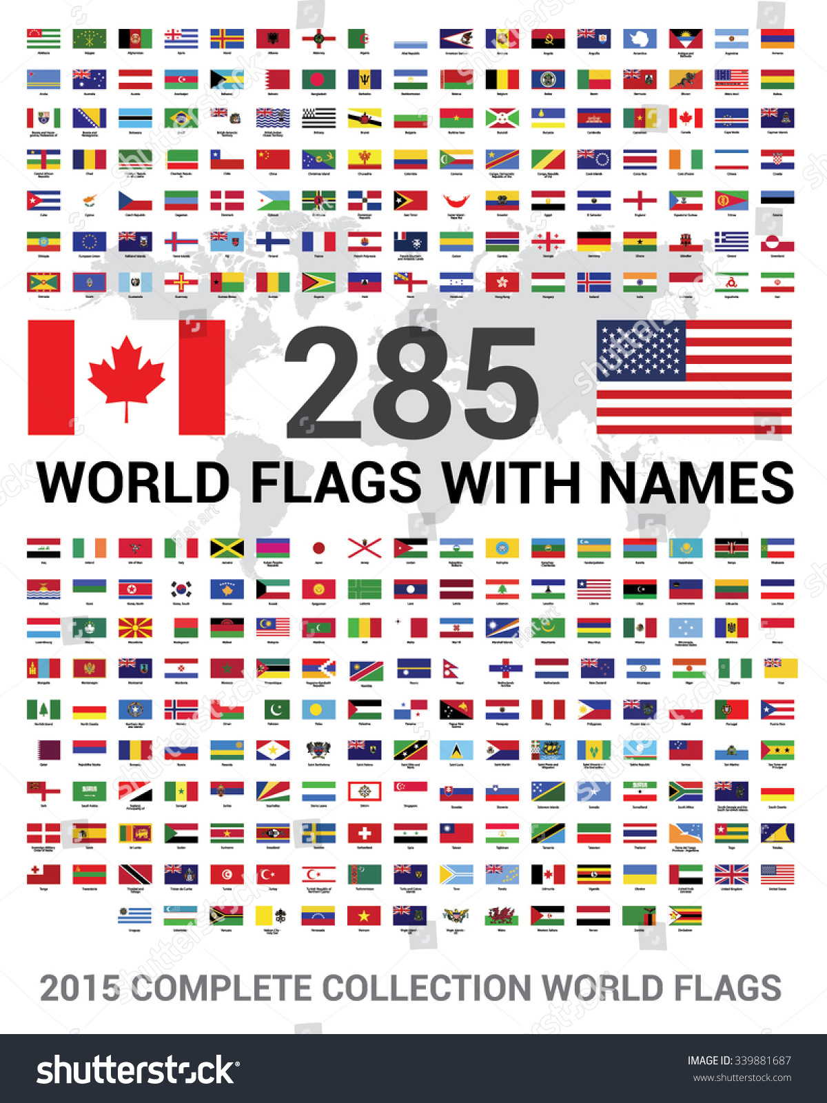 Vector Set 285 World Flags Sovereign Stock Vector 339881687 ...