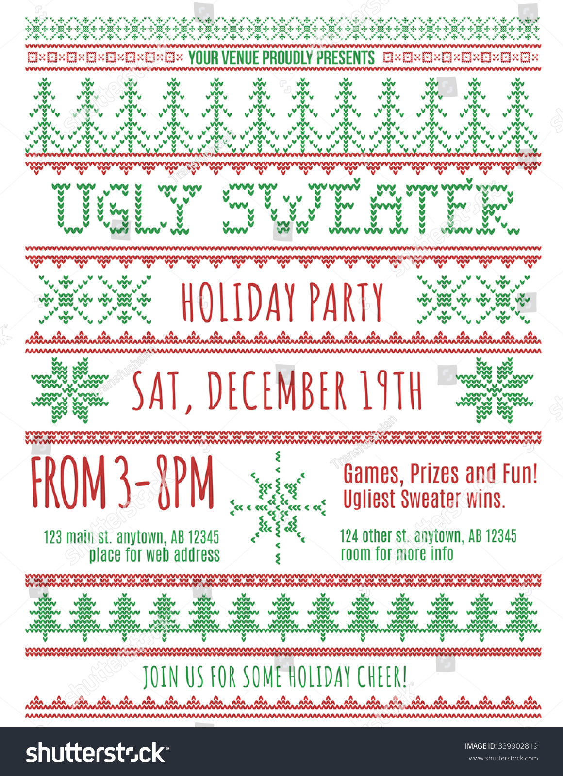 Red Green Ugly Christmas Sweater Party Vector 339902819 – Ugly Christmas Sweater Party Invites
