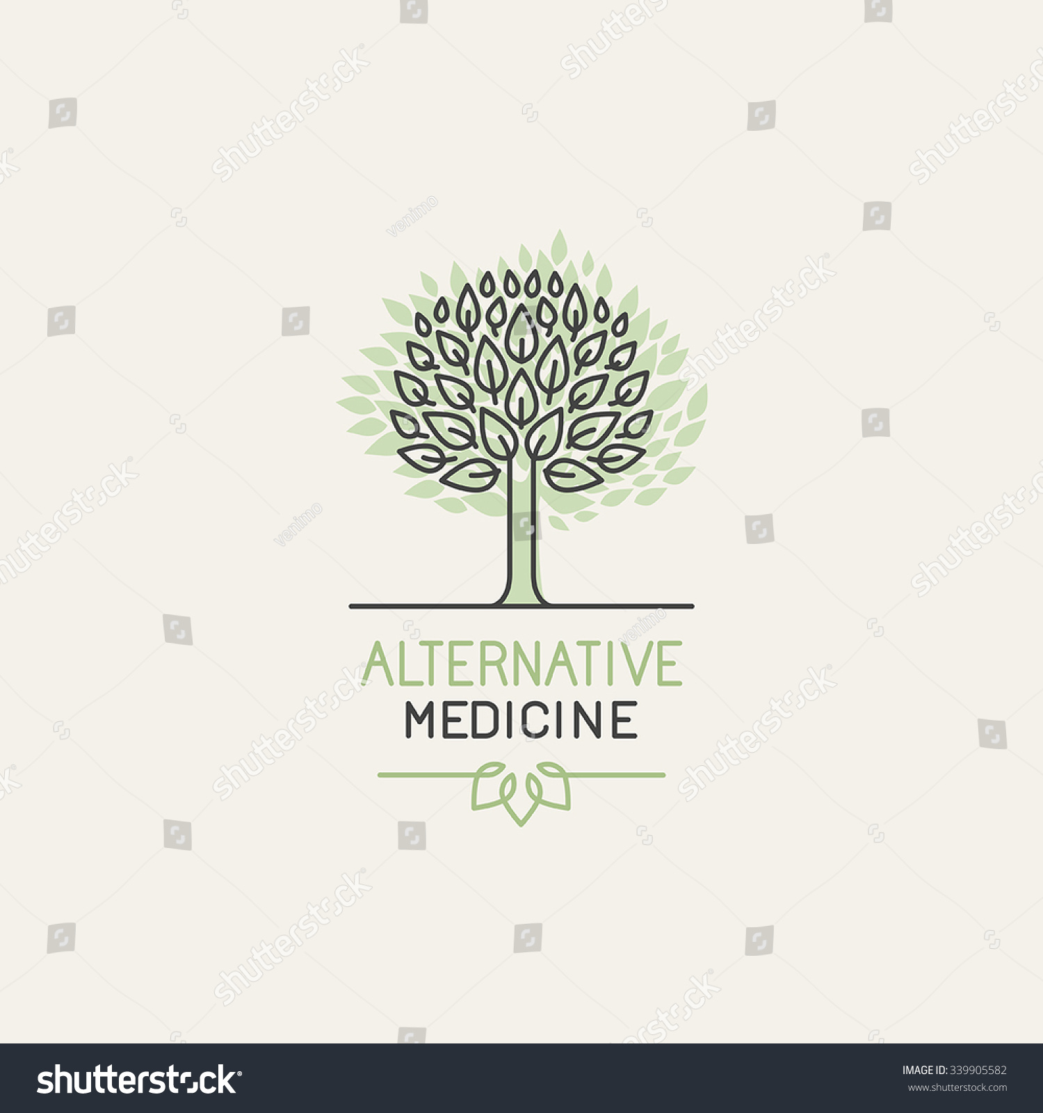 Center for holistic herbal therapy - Vector Herbal And Alternative Medicine Logo Design Template In Trendy Linear Style Holistic Therapy Concept
