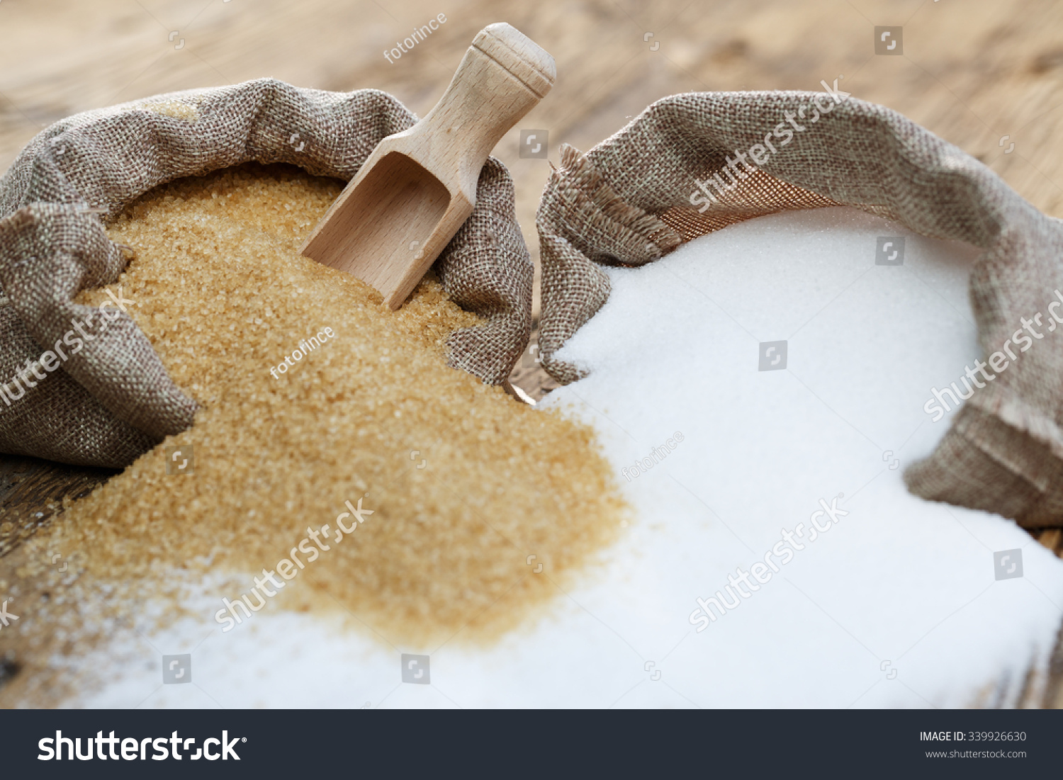 Various types of sugar, brown sugar and white  #339926630