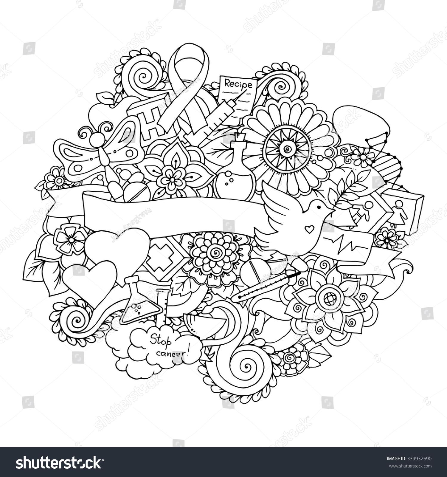 Vector Template Doodles Science Medicine Floral Stock Vector ...