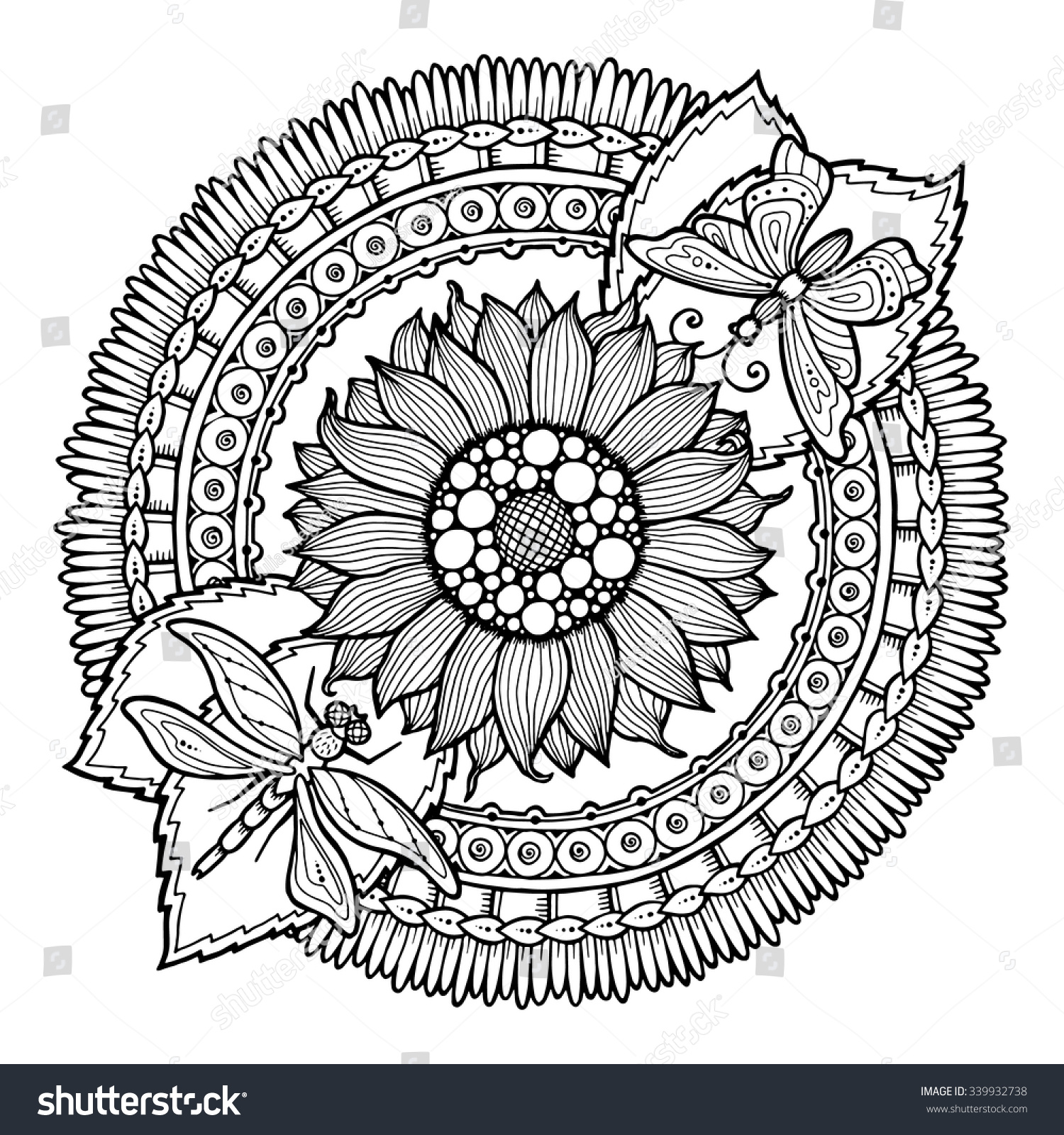 circle summer doodle flower ornament hand stock vector 339932738