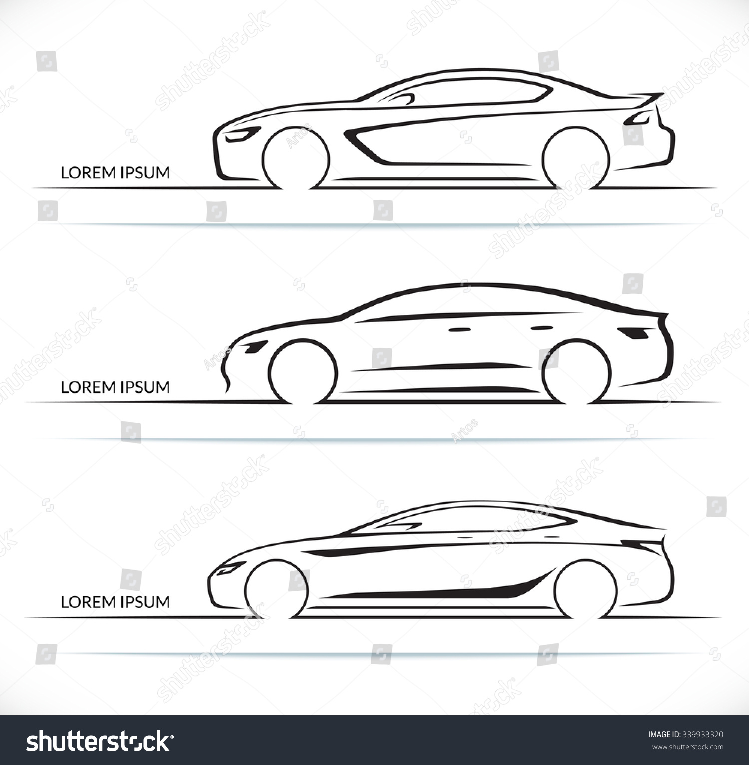 set luxury car silhouettes side view stock vector 339933320 shutterstock. Black Bedroom Furniture Sets. Home Design Ideas