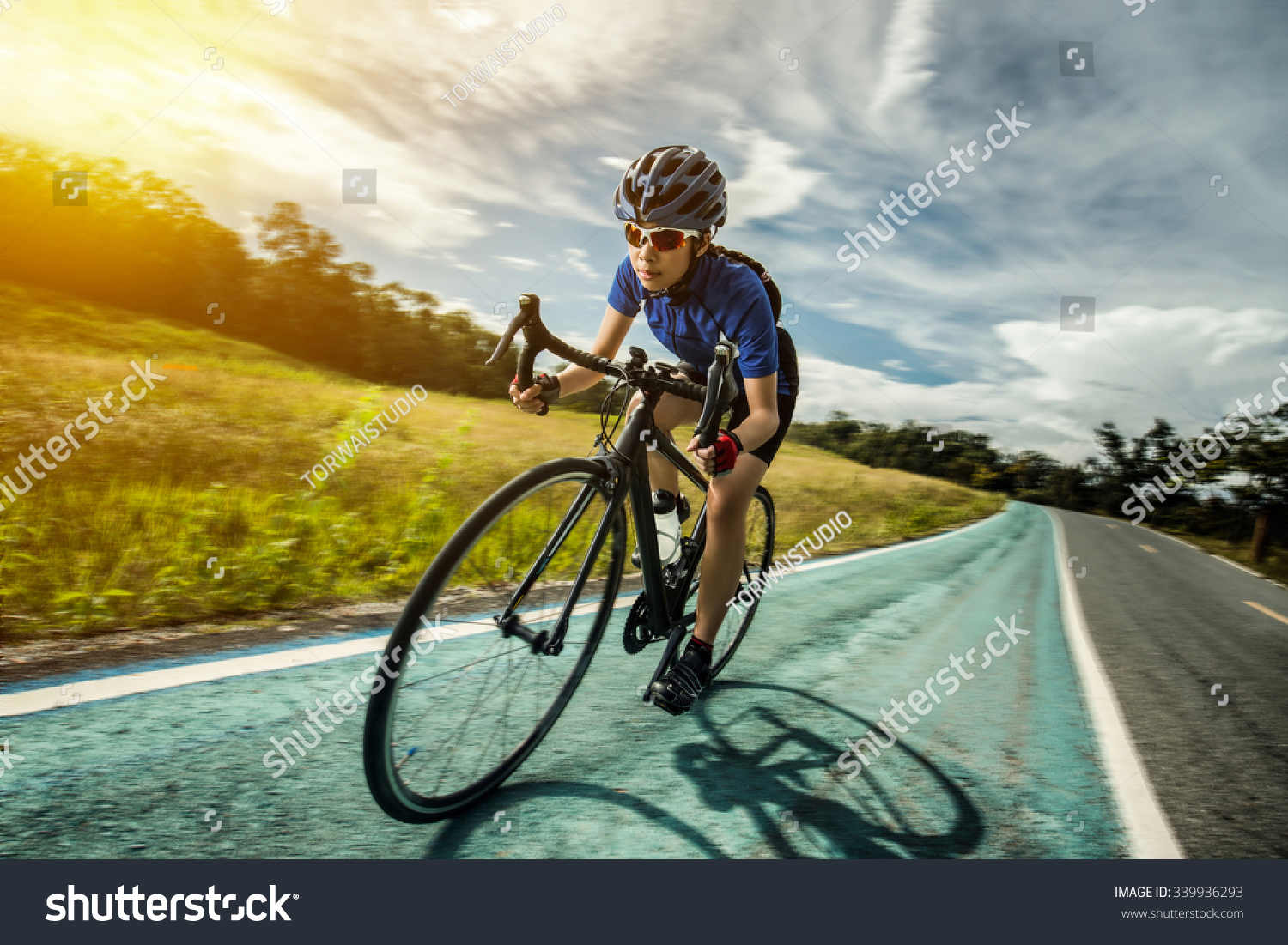 Woman Cycling Outdoor Exercise Bike Paths Stock Photo