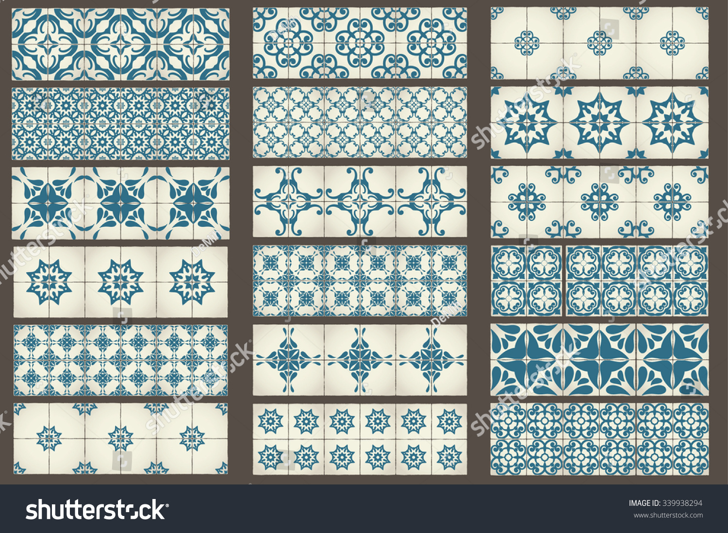 Moroccan Style Kitchen Tiles Set 18 Classic Seamless Templates Moroccan Stock Vector 339938294