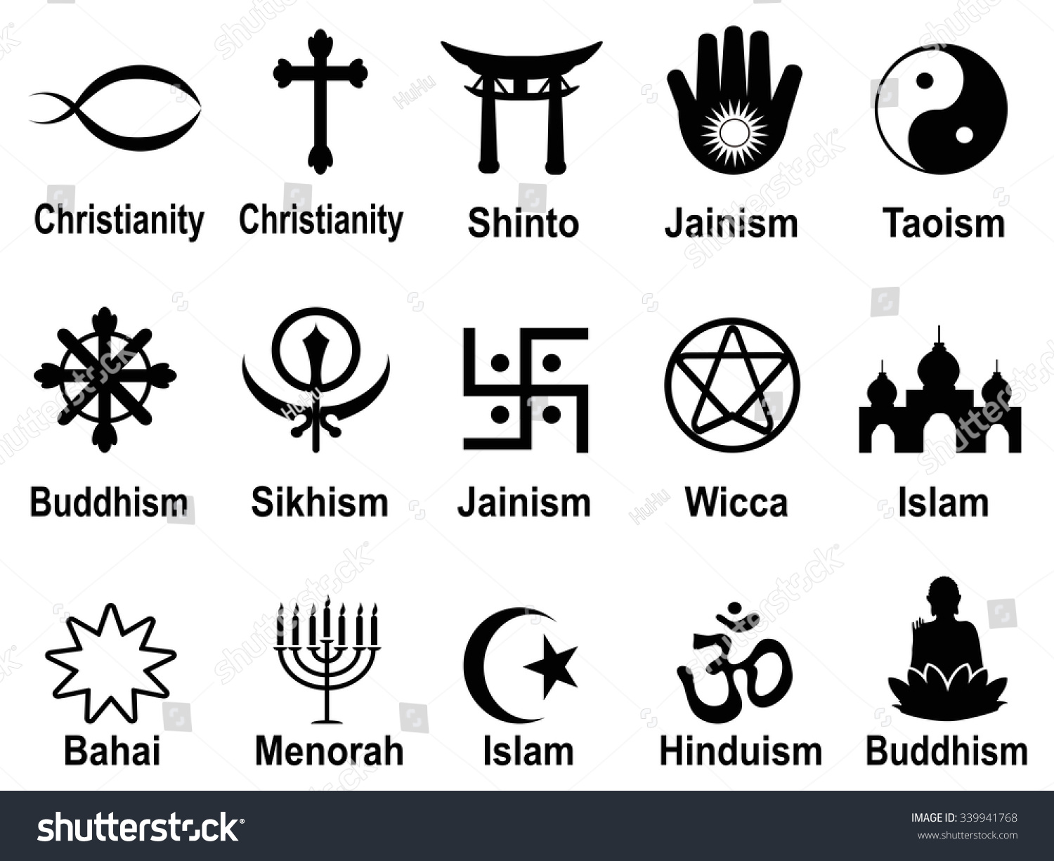 Black Religious Symbols Icons Set Stock Vector Royalty Free