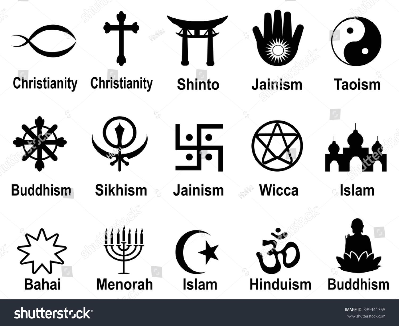 black religious symbols icons set stock vector 339941768