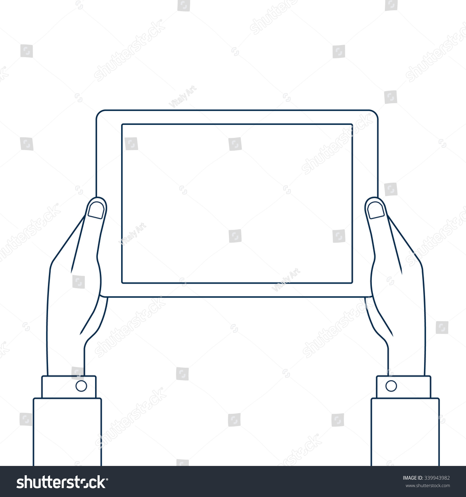 Drawing Smooth Lines In Photo With Tablet : Hands holding tablet pc line drawing stock vector