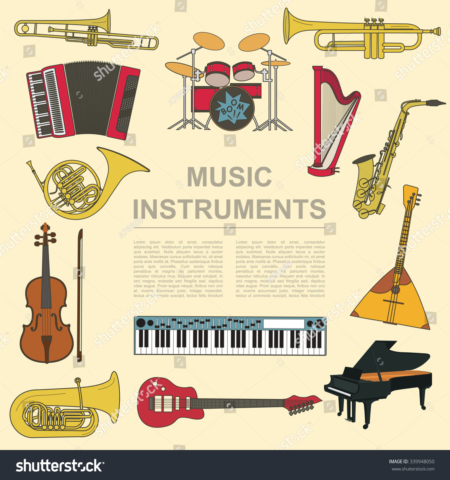 Worksheets Types Of Musical Instrument musical instruments graphic template all types stock vector of infographic illustration