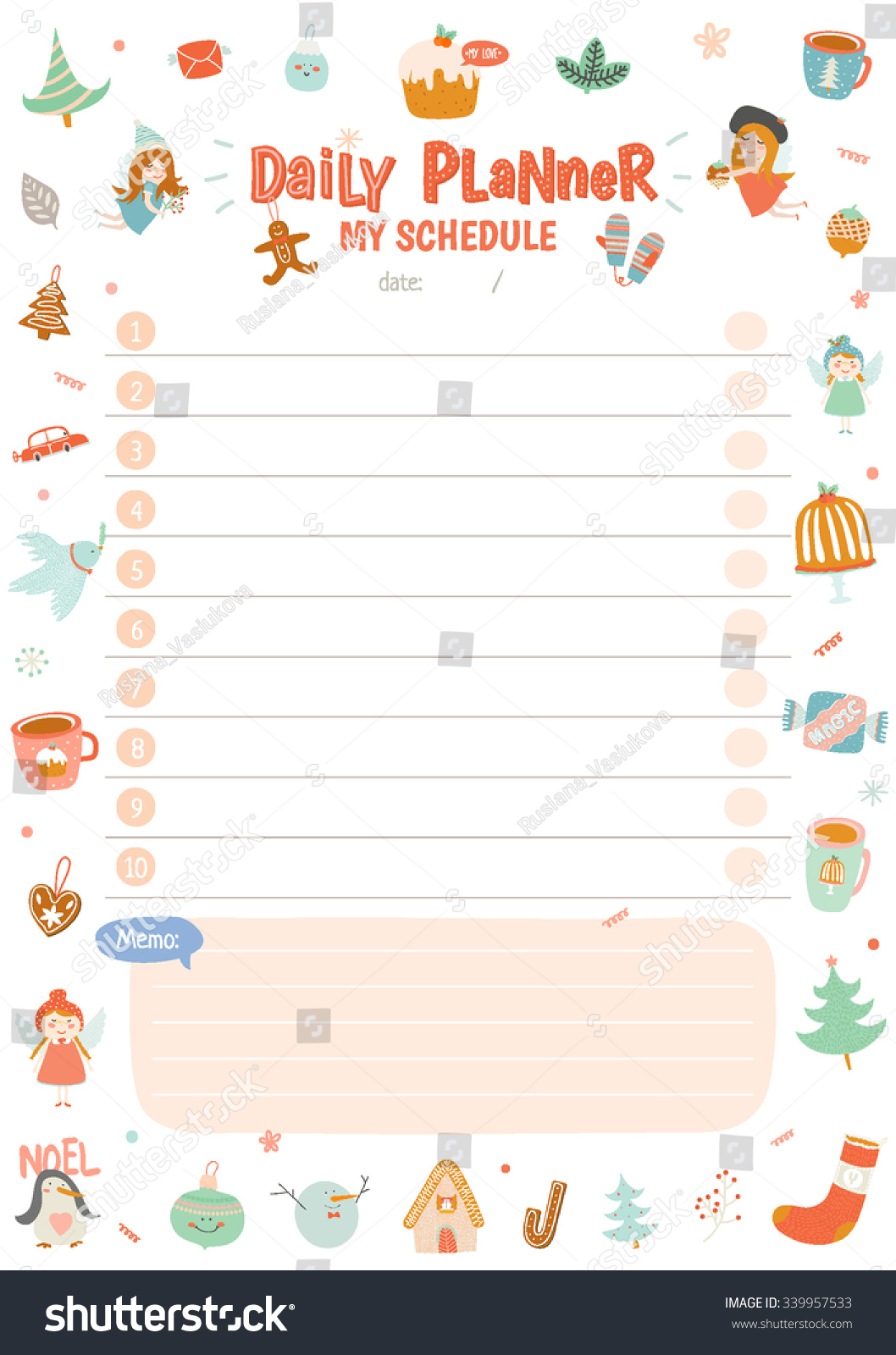 Weekly Calendar Wallpaper : Cute calendar weekly planner template stock vector
