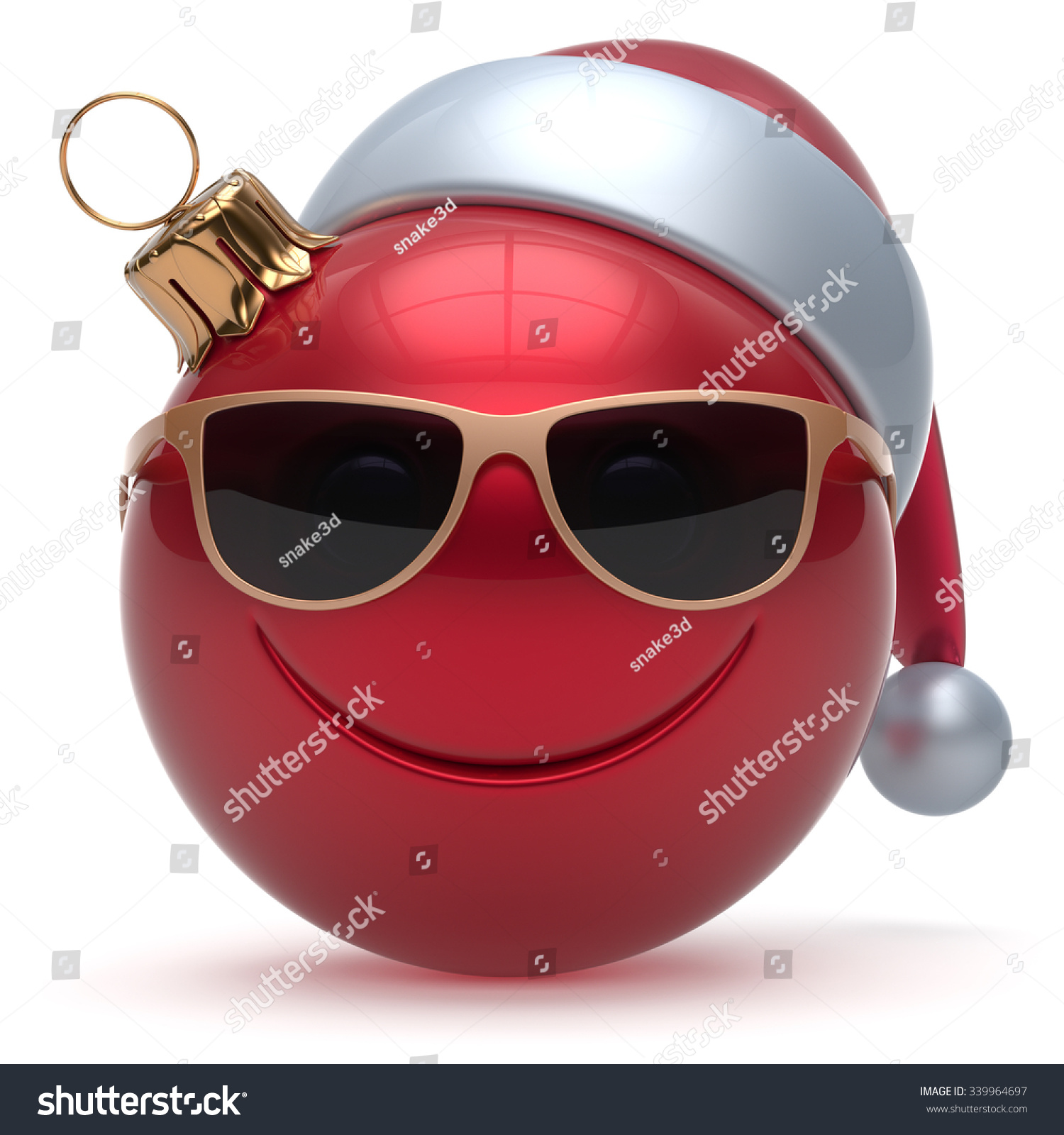 Christmas ball smiley face emoticon happy stock