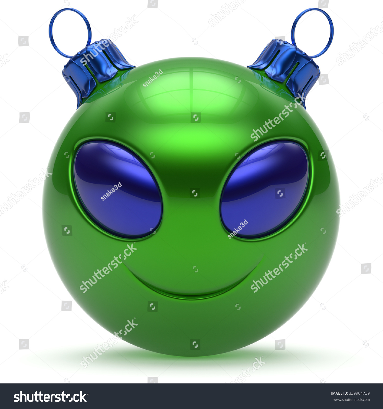 Christmas ball smiley alien face happy stock illustration