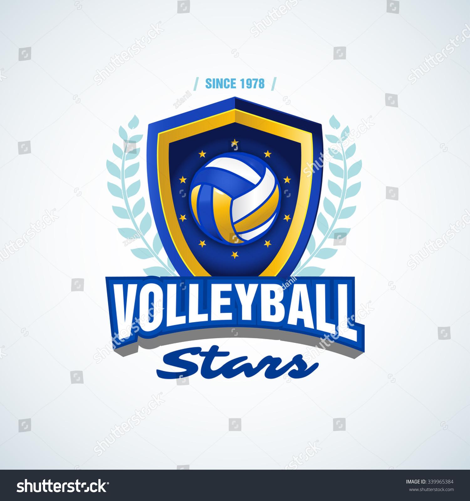 T shirt design volleyball - Volleyball Stars Team Logo Template Volleyball Emblem Logotype Template T Shirt Apparel