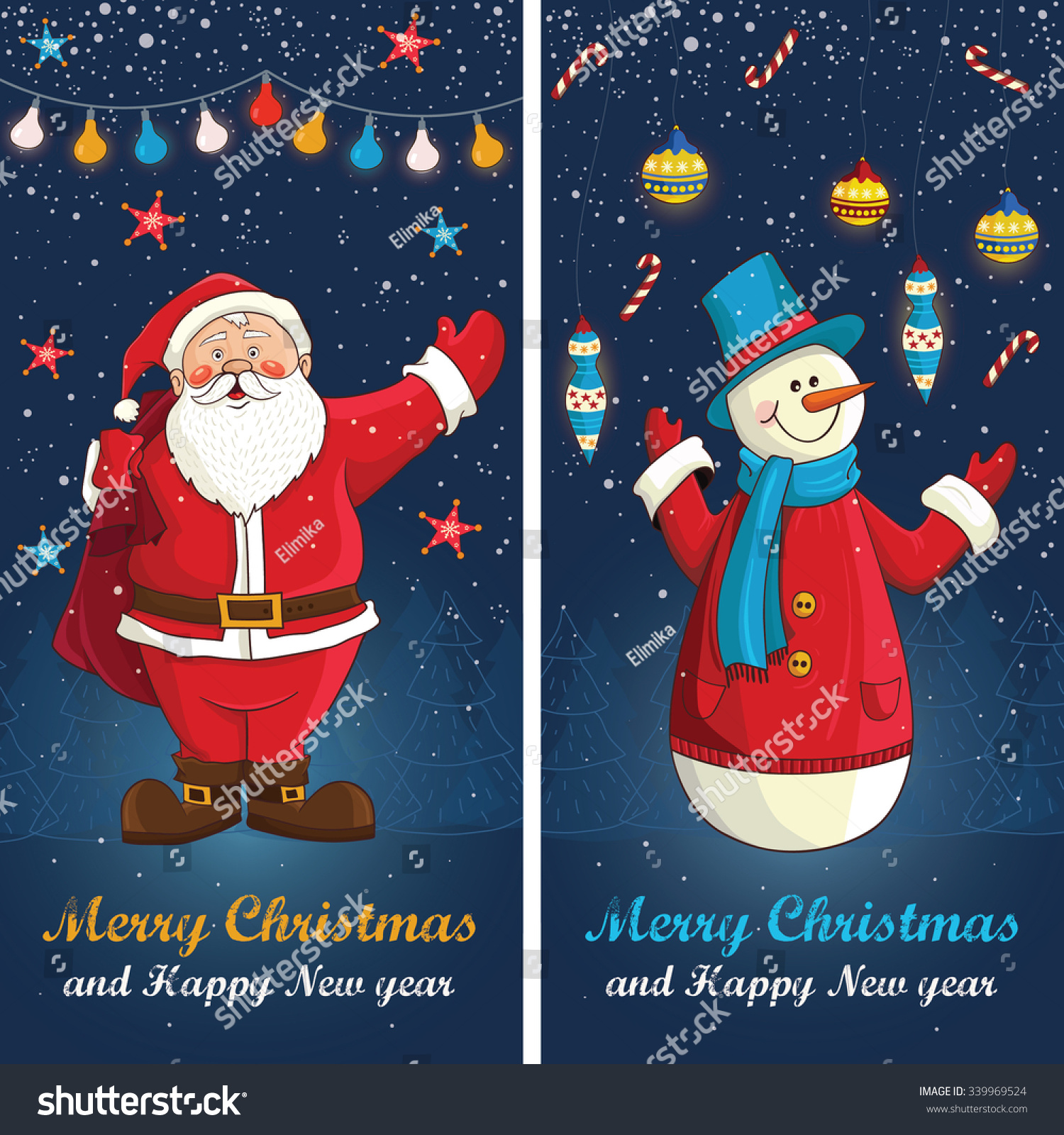 merry christmas card in vectorcute funny santa claus and snowmen - Funny Merry Christmas Greetings